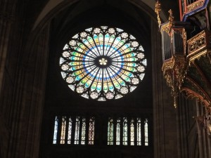 Beautiful rose window in the Strasbourg cathedral