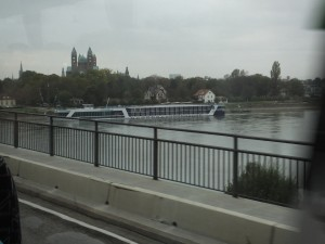 This is our river boat from AMA.  Not a great picture but Bernie took it from the moving bus.