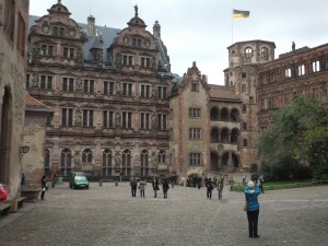 The medieval castle ruins in Heidelberg housing the largest wine barrell in Germany