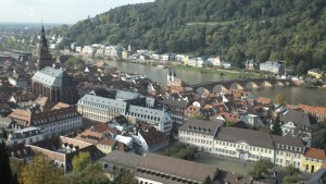 Aerial view of Heidelberg from atop the castle