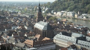 A closer look at the Heidelberg cathedral in the heart of the old historic district