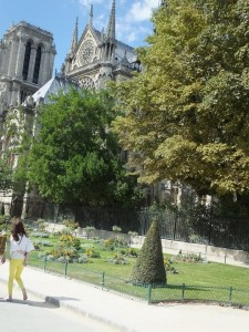 "The park around Notre Dame with a new statue of Pope John Paul.  This is also the park featured in the movie ""Julia/Julie."""