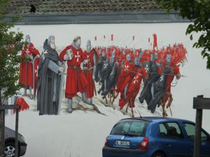 The castle of the Knights Templar is in Soultz and this painting reflects the history.