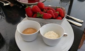 Our dessert which was surprisingly just a container of fresh strawberries with creme freche and brown sugar