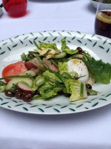 """Linda's salad """"Nice-like"""" with an oriental dressing and a soft-boiled egg. Delish"""