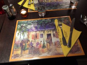 The special place mats which represent the image of the patio