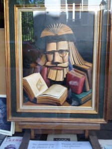 This picture about books is drawn using nothing but books