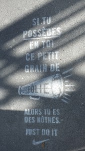 The newest craze in Paris: advertisements stamped on the streets.  Can you guess who this one is for?