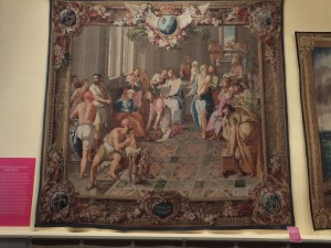 Tapestry depicting washing of feet from the New Testament
