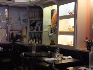 Interior of Les Fous de L'Ile, all about chickens