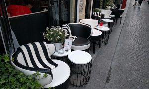 Café chairs at Club Raye. Add these to our mix.